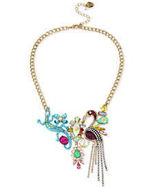 "Betsey Johnson Tri-Tone Stone & Crystal Critter Statement Necklace, 16"" + 3"" extender"