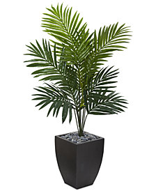 Nearly Natural 4.5' Kentia Palm Artificial Tree in Black-Washed Planter