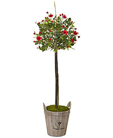 Nearly Natural 4.5' Rose Artificial Topiary with Farmhouse Planter