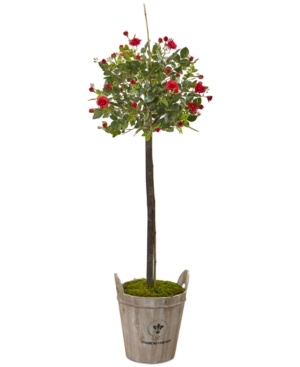 Nearly Natural 45 Rose Artificial Topiary with Farmhouse Planter