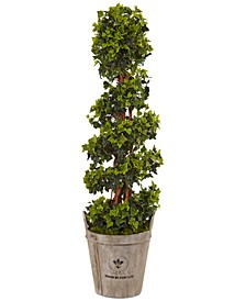 4' English Ivy UV-Resistant Indoor/Outdoor Artificial Tree in Farmhouse Planter