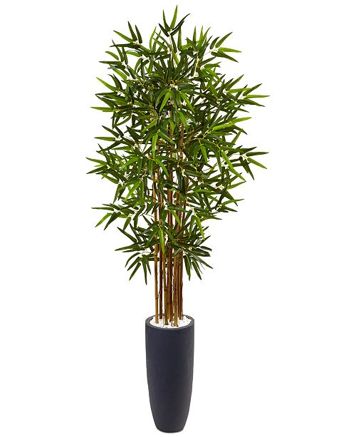 Nearly Natural 5' Bamboo Artificial Tree in Gray Cylinder Planter