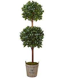 Nearly Natural 6' Double Ball Topiary Artificial Tree in European Barrel Planter