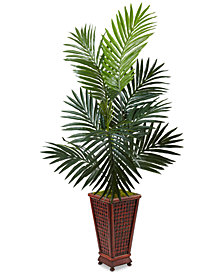 Nearly Natural 4.5' Kentia Palm Artificial Tree in Decorative Wood Planter