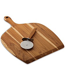 Anolon Pantryware Teak Wood Pizza Peel & Cutter Set