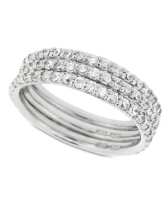 Giani Bernini Sterling Silver Ring Set Cubic Zirconia Stackable