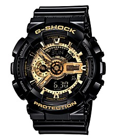 Men's Analog Digital Black Resin Strap Watch