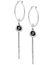 GUESS Charm & Crystal Fringe Hoop Earrings