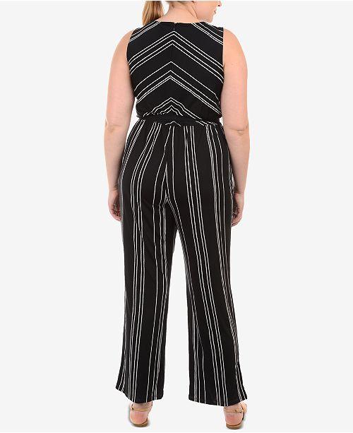 Striped Plus Byline Size Collection Noir Jumpsuit NY twgP5qH