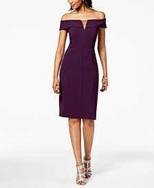 Vince Camuto Off-The-Shoulder Illusion Sheath Dress