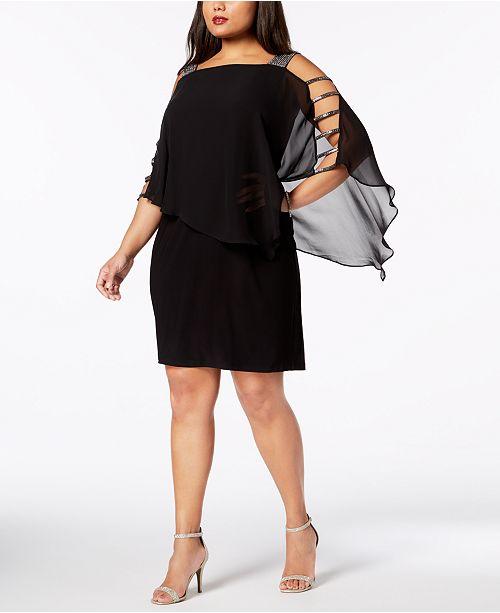 Plus-Size Embellished Chiffon-Overlay Dress