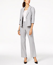 Le Suit One-Button Pinstriped Pantsuit, Regular & Petite