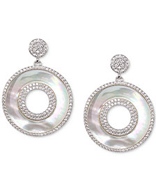 Nina Silver-Tone Pavé & Imitation Mother-of-Pearl Circular Drop Earrings