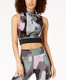 Puma Chase Printed Cropped Half-Zip Tank Top