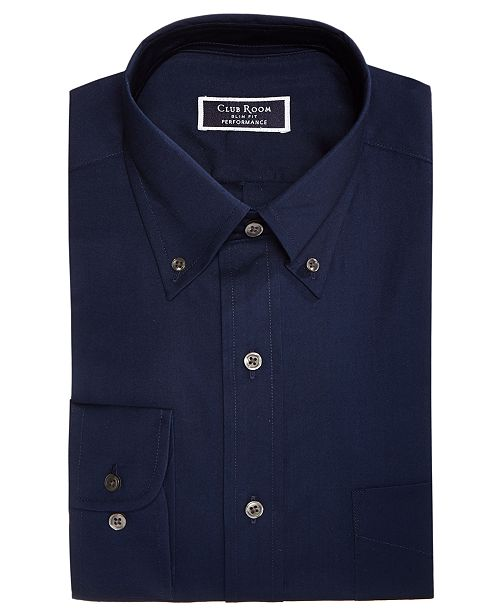 Club Room Men's Classic/Regular Fit Performance Stretch Pinpoint Solid Dress Shirt, Created for Macy's