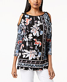 JM Collection Petite Floral-Print Cold-Shoulder Top, Created for Macy's