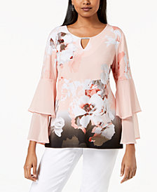 JM Collection Embellished Tiered Bell-Sleeve Top, Created for Macy's