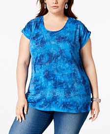 Lucky Brand Trendy Plus Size Tie-Dyed T-Shirt
