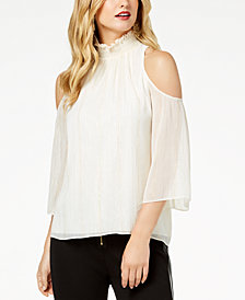 Zoe by Rachel Zoe Smocked Crinkle Chiffon Cold-Shoulder Top, Created For Macy's