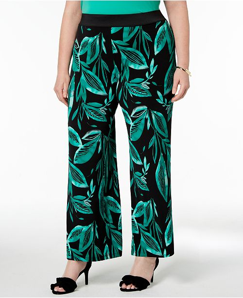 Created Watercolor Plus Alfani Palm for Size Printed Palazzo Pants Macy's qxAwTOX