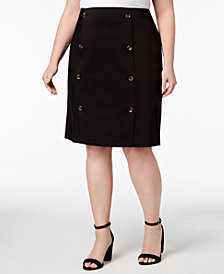 Calvin Klein Plus Size Button-Front Pencil Skirt