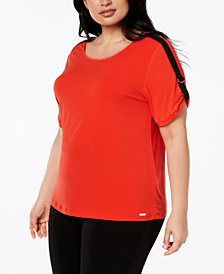 Calvin Klein Plus Size Racer-Stripe Top