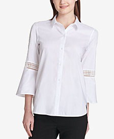 Calvin Klein Lace-Inset Bell-Sleeve Blouse