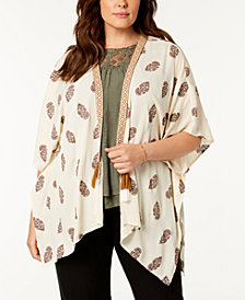 Style & Co Plus Size Printed Open-Front Kimono, Created for Macy's