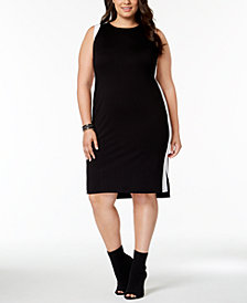 I.N.C. Plus Size Colorblocked Sheath Dress, Created for Macy's