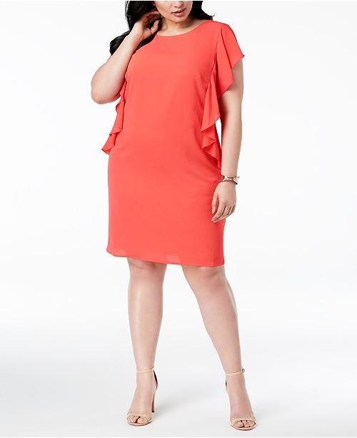Plus Size Jessica Shift Ruffled Howard Coral Dress 85wwqP