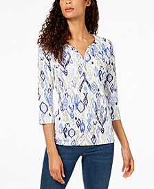 Karen Scott Printed Henley Top, Created for Macy's