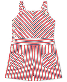 Polo Ralph Lauren Little Girls Striped Bow-Back Cotton Romper