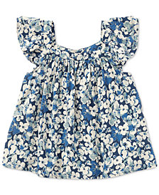 Polo Ralph Lauren Floral Flutter-Sleeve Top, Toddler Girls