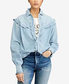 Polo Ralph Lauren Ruffle-Trim Denim Cotton Shirt