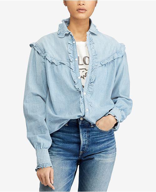35cf9d735d Polo Ralph Lauren Ruffle-Trim Denim Cotton Shirt   Reviews - Tops ...