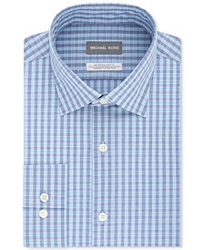 Michael Kors Men's Classic/Regular Fit Non-Iron Airsoft Stretch Performance Teal Check Dress Shirt