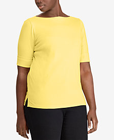 Lauren Ralph Lauren Plus Size Slim-Fit Boat-Neck T-Shirt