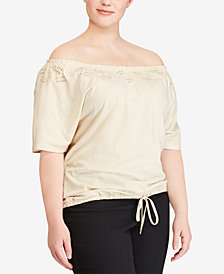 Lauren Ralph Lauren Plus Size Off-The-Shoulder Cotton Top