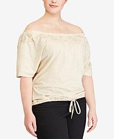 Lauren Ralph Lauren Plus Size Off-The-Shoulder Cotton Top