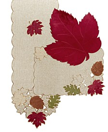 Serene Leaves Velvet Table Linens Collection