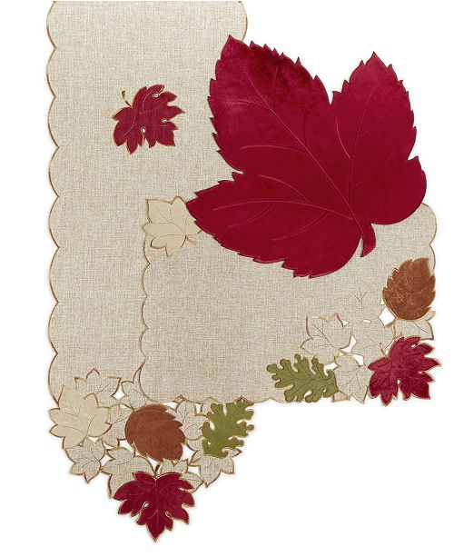 Elrene Serene Leaves Velvet Table Linens Collection