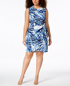 Jessica Howard Plus Size Printed Side-Tie Dress