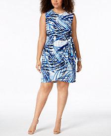 Jessica Howard Plus Size Printed Side-Tie Dress