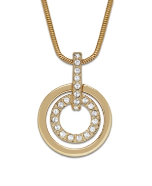 Swarovski Necklace, Gold-Tone Double Circle Crystal Pendant