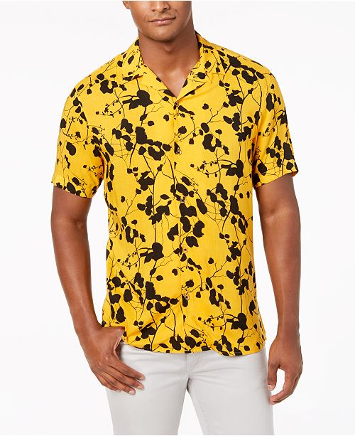 INC International Concepts I.N.C. Men's Twig Leaf Camp Collar Shirt, Created for Macy's