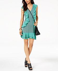 MICHAEL Michael Kors Ruffled V-Neck Dress, Regular & Petite