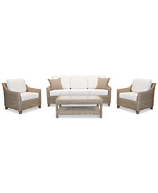 Willough Outdoor 4-Pc. Set (1 Sofa, 2 Club Chairs & 1 Coffee Table), with Sunbrella® Cushions, Created for Macy's