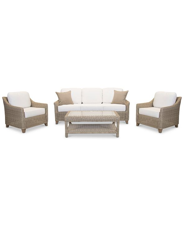 Furniture Willough Outdoor 4-Pc. Set (1 Sofa, 2 Club Chairs & 1 Coffee Table), with Sunbrella® Cushions, Created for Macy's