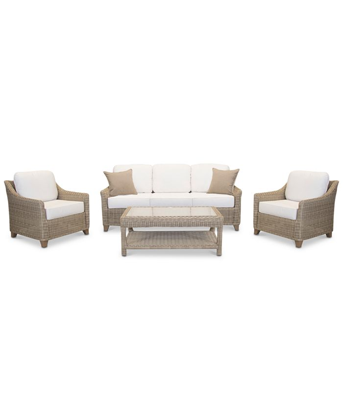 Furniture - Willough Outdoor 4-Pc. Set (1 Sofa, 2 Club Chairs & 1 Coffee Table)