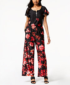 NY Collection Petite Floral-Print Wide-Leg Jumpsuit